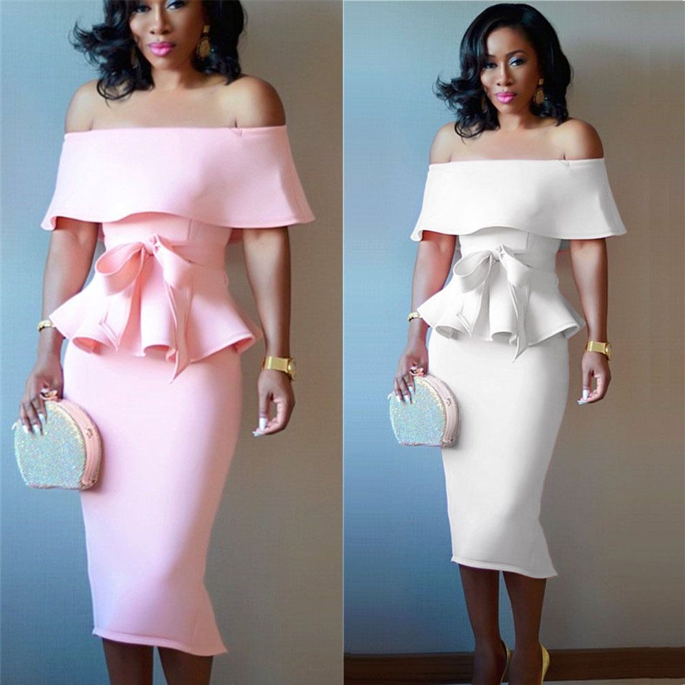 Fashion Women Dress Sexy Dress Two Piece Dress Vintage Summer White Pink Strapless Shoulder Off Lotus Summer Evening Party Wear