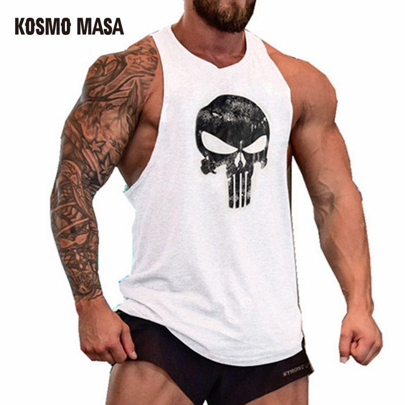 KOSMO MASA 2017 Skull Bodybuilding Fitness Stringer Men Tank Top Golds Gorilla Wear Vest Undershirt Tank Tops MC0117