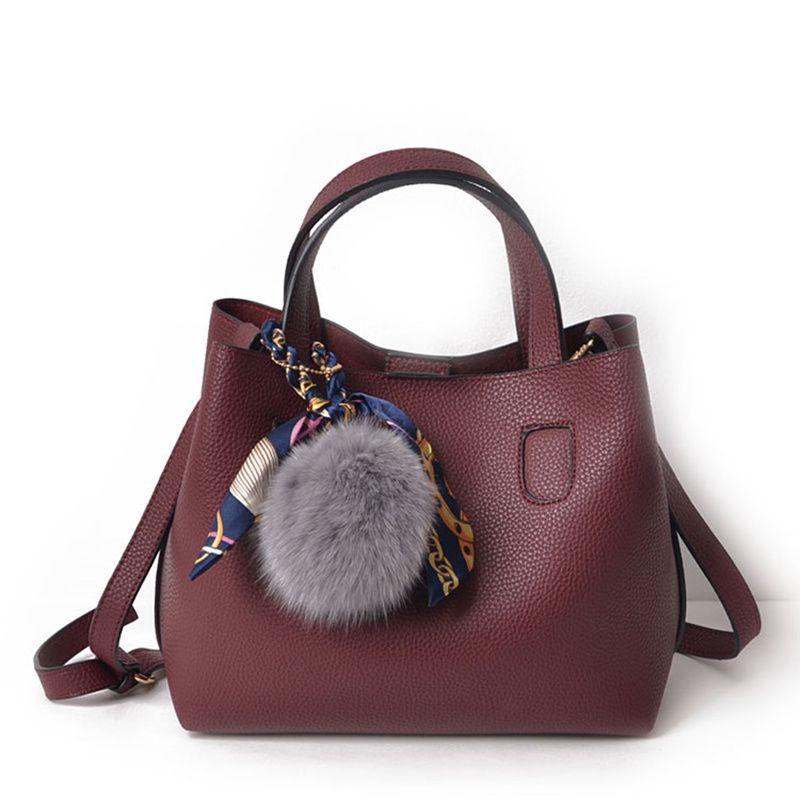 Frauen Handtasche Zwei Stücke Muster Weichen PU Leder Weiblichen Umhängetasche Mädchen Kleine Casual Einkaufstasche Frauen