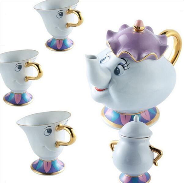 Cartoon Beauté Et La Bête Mme Potts Thé Ensemble Théière [1 Pot + 3 Tasses + 1 Sucre Pot] puce Tasse Tasse Beau Cadeau Livraison Gratuite