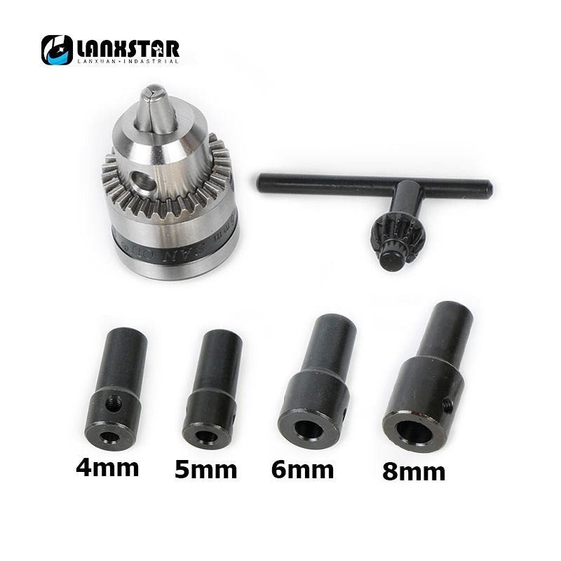 New Motor B10 Drill Chuck 0.6-6mm Mount Taper with 4/5/6/8MM Connector Rod Motor Shaft and Wrench Rotary Tool Accessories