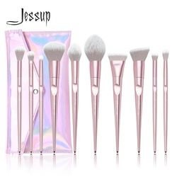 Jessup Set Makeup Sikat Set 10 Pcs Logam Pink Beauty Make Up Sikat Lembut Blush Bubuk Foundation Eyeshadow Sikat