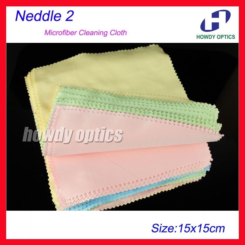 100pcs 175gsm 150x150m Neddle 2 Colorful lens wiping cleaning cloth eyeglasses glasses microfiber cleaning cloth Free Shipping
