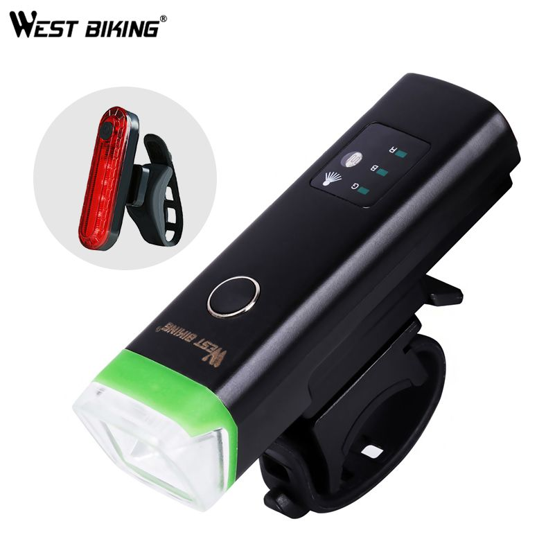 WEST BIKING Front Bicycle Light USB Rechargeable Waterproof LED Bike Torch Cycling Headlight Climbing Safety Flashlight Lamps
