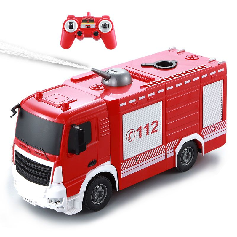 RC Truck 2.4G Radio Control Construction Car RC Fire Truck Remote Control Water Jet Fire Engine For Kids Gift Toys