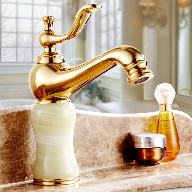 Antique European kitchen sink faucets water mixer tap, Bathroom jade basin faucet golden, Brass toilet basin faucet cold and hot