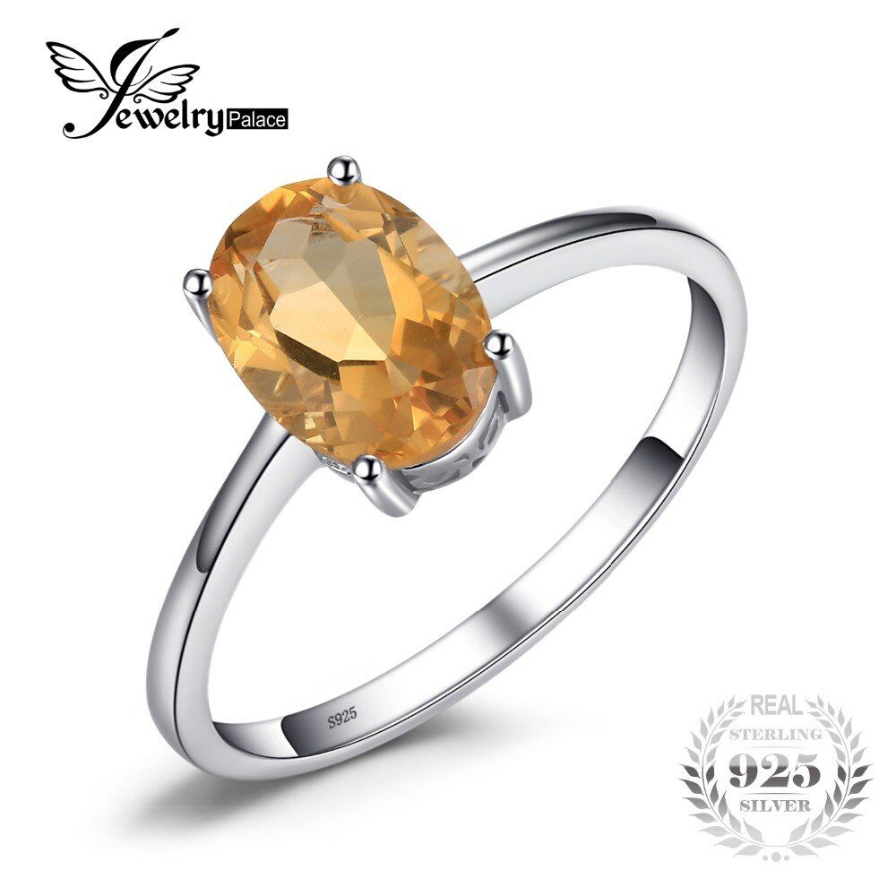 JewelryPalace Oval 1.1ct Natural Citrine Birthstone Solitaire Ring Genuine 925  Sterling Silver New Fine Jewelry For Women