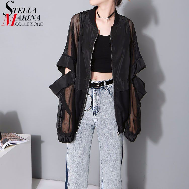 New 2018 Korean Style Women Loose Black Blouse Mesh Long Sleeves Elbow Hollow Out Cool Special Feminine Shirt chemise femme 1702