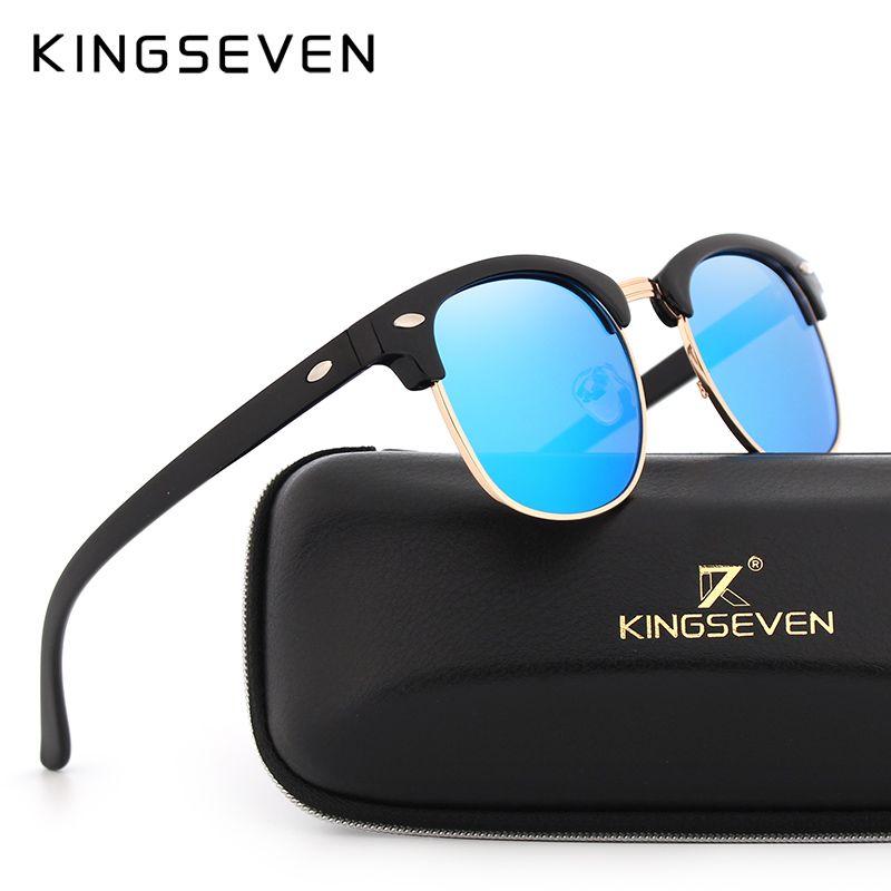KINGSEVEN Lunettes de Soleil Polarisées Femmes Rétro Cadre En Métal Lunettes de Soleil Femme Célèbre Marque Designer Oculos masculino lentes de sol