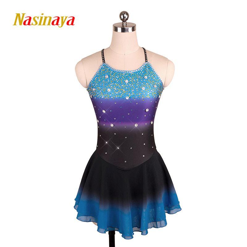 Kundenspezifische Kostüm Eiskunstlauf Gymnastik Kleid Wettbewerb Erwachsenes Kind Mädchen Rock Performance Ärmellose multi-color