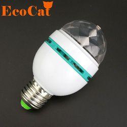 E27 светодио дный RGB лампы 3 Вт 110 V 220 V Красочные Авто вращающийся проектор Кристалл светодио дный свет этапа Magic Ball DJ вечерние дискотека эффект...