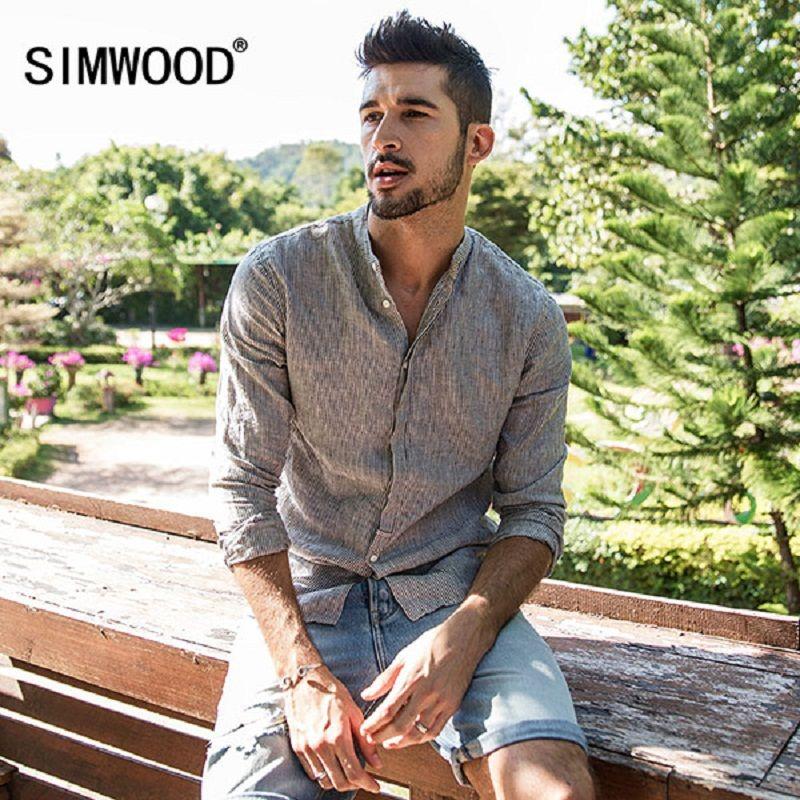 Simwood Повседневное рубашки Для мужчин 100% чистый лен 2018 сезон: весна–лето рубашка с длинными рукавами мужской Slim Fit плюс Размеры высокое качес...