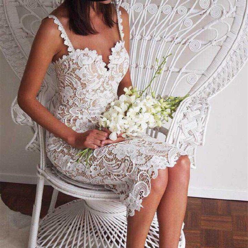 2018 Fashion Designer Blanc/Noir Parti robe Femmes Sexy Sans Manches En Dentelle Crochet Creux Out Slim Spaghetti Strap Robe Moulante