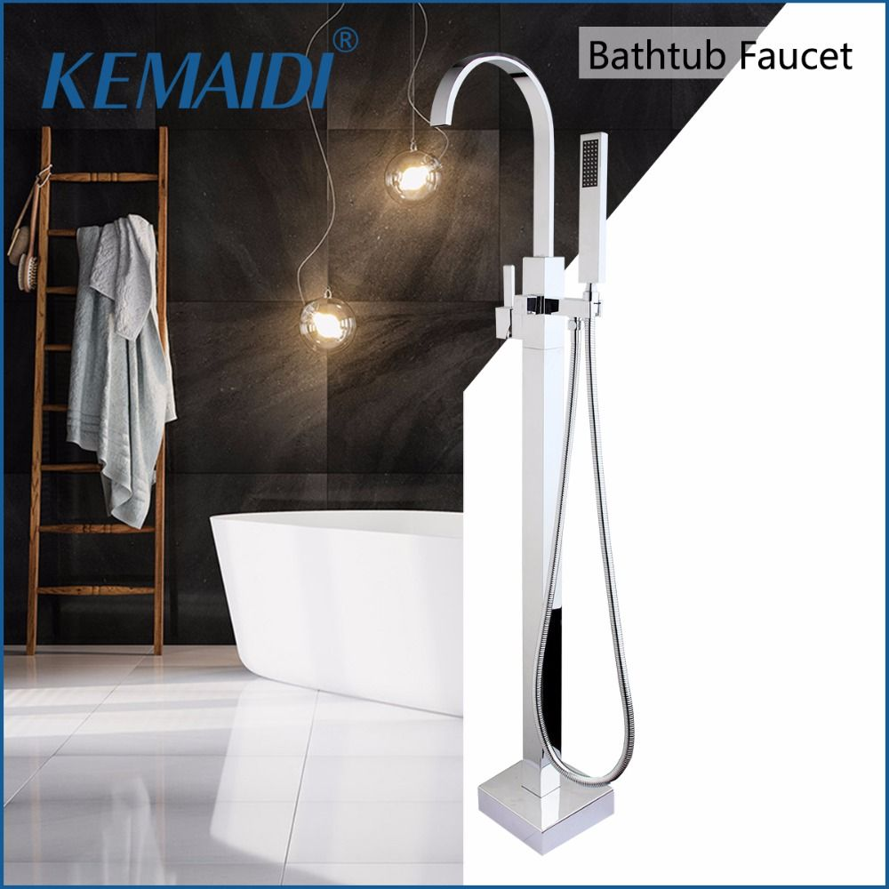 KEMAIDI Bathroom Shower With Hand Shower Single Handle Floor Stand Bathtub Tap Shower Mixer Faucet Set