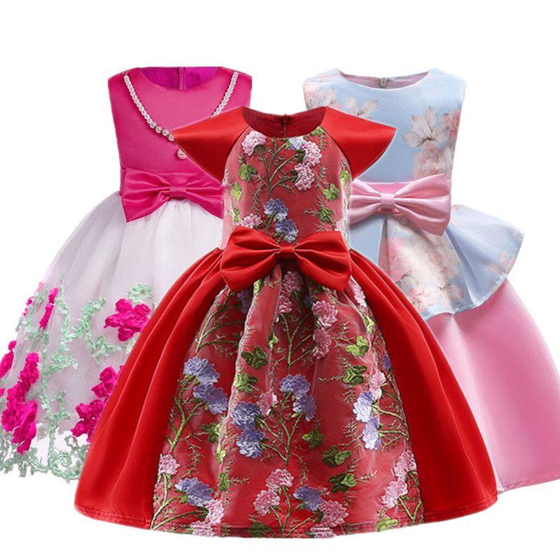 Verano Navidad flor Niñas vestido de niña sin mangas princesa Vestidos niña traje niños ropa