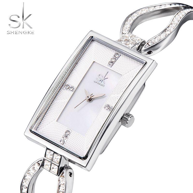 SK nouvelles femmes de mode diamant montres-bracelets Top marque de luxe carré dames élégant genève Quartz horloge femme montre-bracelet 2017