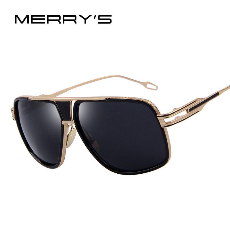MERRY'S Männer Sonnenbrille der Neueste Vintage Großen Rahmen Goggle Sommer Stil Marke Design Sonnenbrille Oculos De Sol UV400