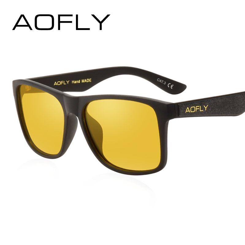 AOFLY BRAND DESIGN Night Vision Glasses Polarized Sunglasses <font><b>Men</b></font> Yellow Anti Glare Vintage Driving Sun Glasses Goggles UV400