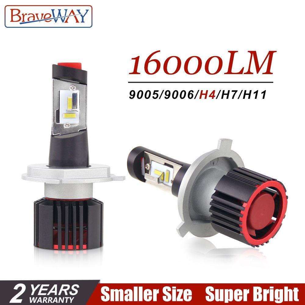 BraveWay CSP Chip Turbo LED Light Bulbs for Cars H8 H11 LED H4 16000LM 100W HB4 HB3 H7 Lamps 12V H4 LED Headlight H7 LED Canbus