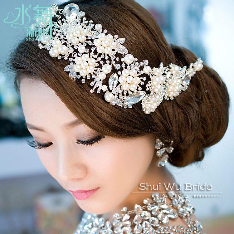 Alliage importé plaqué perle cristal coiffure de mariée diadème accessoires de cheveux de mariage bijoux de cheveux pour les mariées