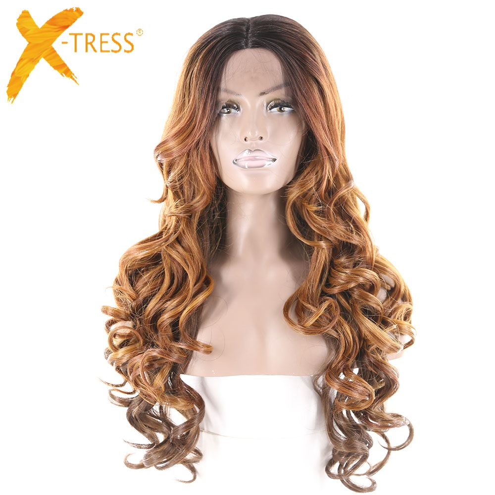 XTRESS Synthetic Lace Front Wig Dream Curly Wig Natural Hairline Middle Part Glueless High Temperature Fiber Perruque For Women