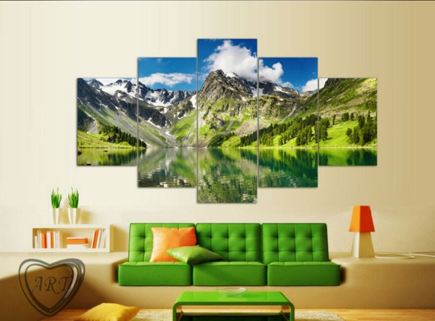 5 Piece Cloud Snowy Lake Mountain Home Wall Decor Canvas Picture Art Hd Print Painting