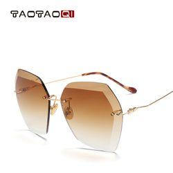 TAOTAOQI De Luxe lunettes de Soleil Femmes Designer Marque De Mode Sans Monture Lunettes de Soleil Des Femmes UV400 Vintage Lunettes Oculos de sol