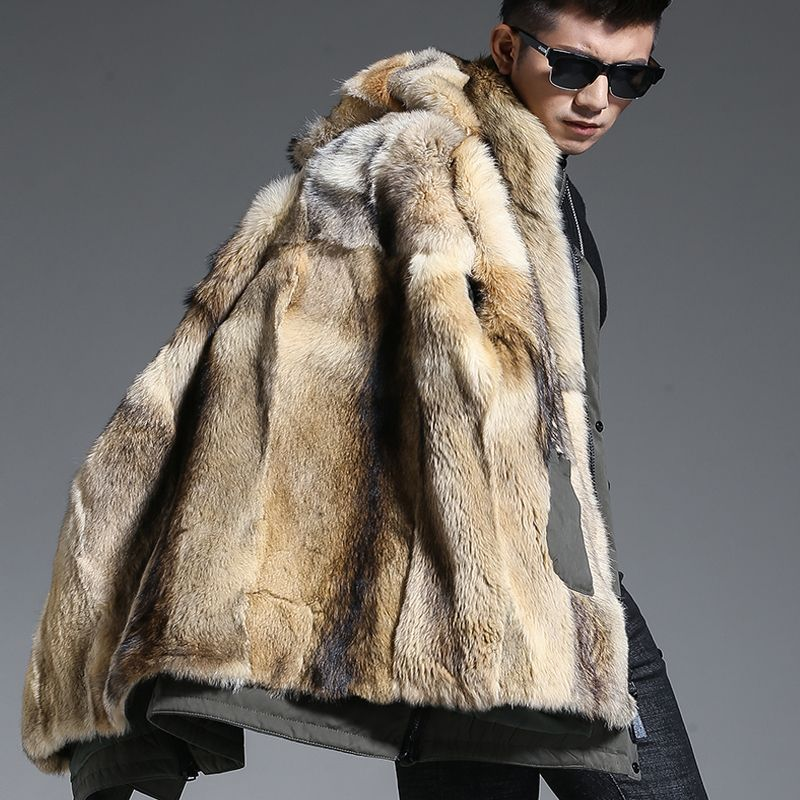 Wolf Fur Coat Men Winter Warm Fur Coat Hooded Long Style Jacket Thick Real Fur Coat Natural Fur Mens Winter Thermal Outerwear