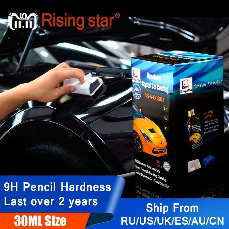 Rising Star RS-A-CCS01 Liquid Glass 9H Nano Hydrophobic Ceramic Coating Car Care Wax Crystal Car Coating 30Ml Kit for Demo Test