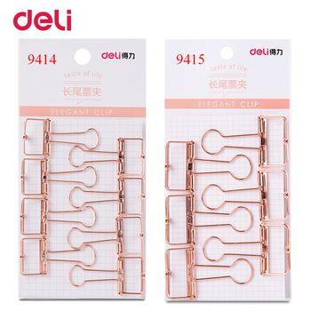 Deli 2 taille rose or creusé conception liant clip pour l'école de bureau papier organisateur papeterie fournir pinces métalliques décoratifs
