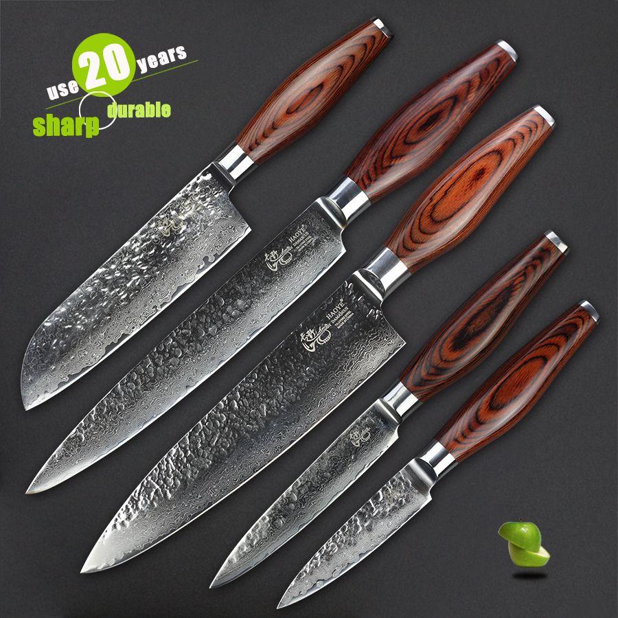 Haoye damaskus küchenmesser 5 stück set vg10 hammer schmiedestahl qualität sharp messer mehrzweck besteck werkzeug luxus geschenk