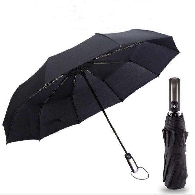Résistant Au vent Trois Pliant Automatique Parapluie Pluie Femmes Automatique De Luxe Grand Coupe-Vent Parapluies Hommes Cadre Coupe-Vent 10 k Parasol