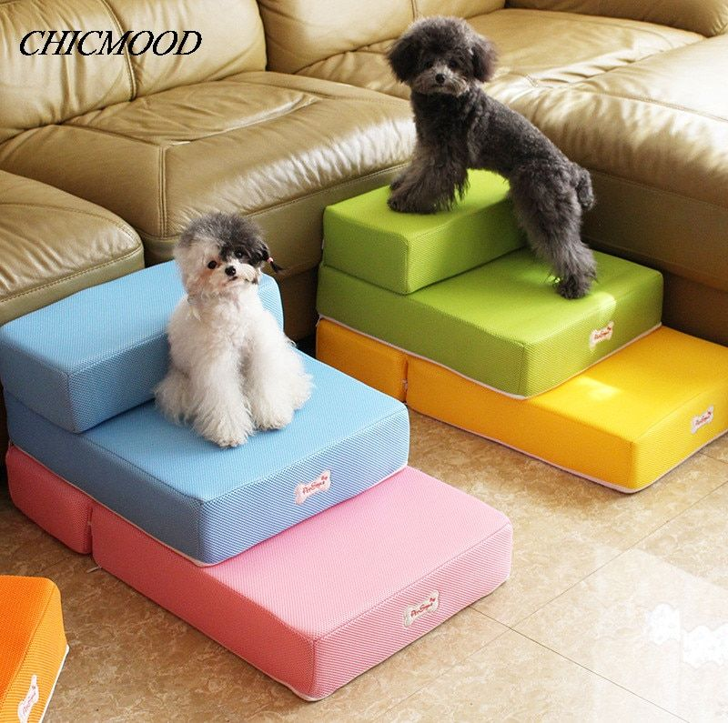 Cute pet ramp Stairs for small dog pet dog mat mattress mesh breathable fabric pet steps 2-steps with detachable soft Cover