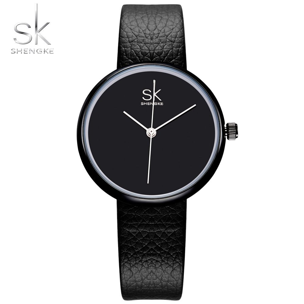 Shengke Watches Women Quartz Clock Top Brand Watches Leather Women Watch Causal Black White Simple Wristwatch Montre <font><b>Femme</b></font> 2017