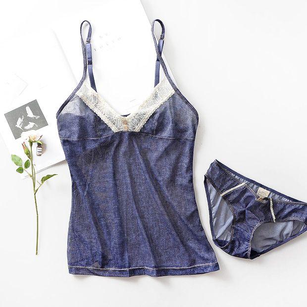 Fashion denim blue color ultra-thin gauze pajamas set perspective homewear set small deep V-neck sexy nightwear small clothing