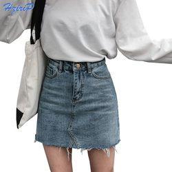 Hzirip D'été De Mode Taille Haute Jupes Femmes Poches Bouton Denim Jupe Femelle Saias 2017 Nouveau Tout-assorti Casual Jeans jupe