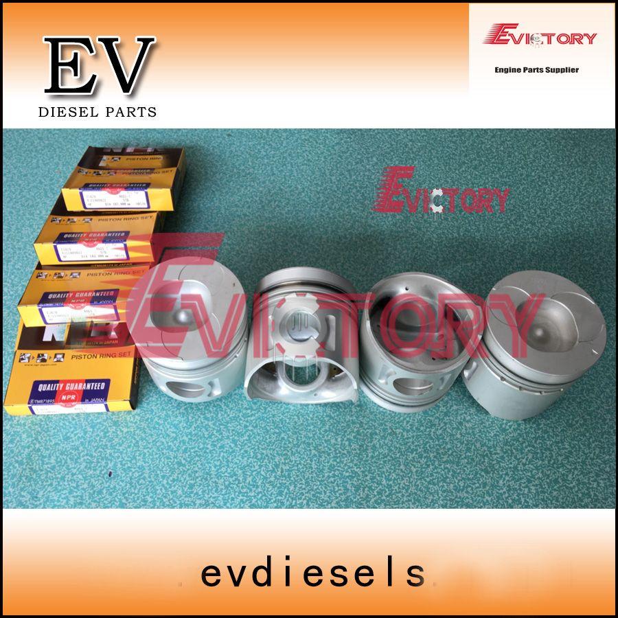 For Isuzu engine 4BG1 4BG1T piston+piston ring+cylinder liner+crankshaft bearing+con rod bearing+Full engine gasket kit