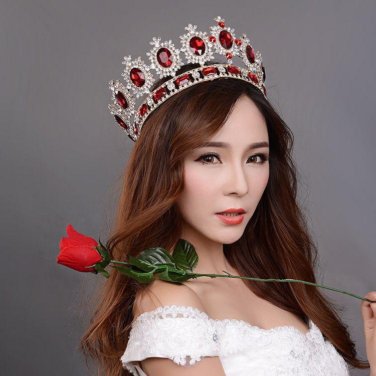 Großen Europäischen royal crown goldene strass imitation tiara super große quinceanera crown hochzeit haarschmuck großhandel
