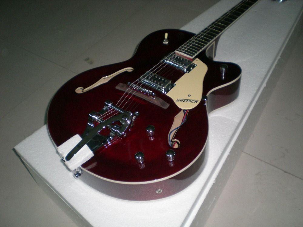 Hohe qualität fabrik benutzerdefinierte gretsch falcon 6120 semi hollow jazz rote e-gitarre bigsby tremolo hohlkörper e-gitarre