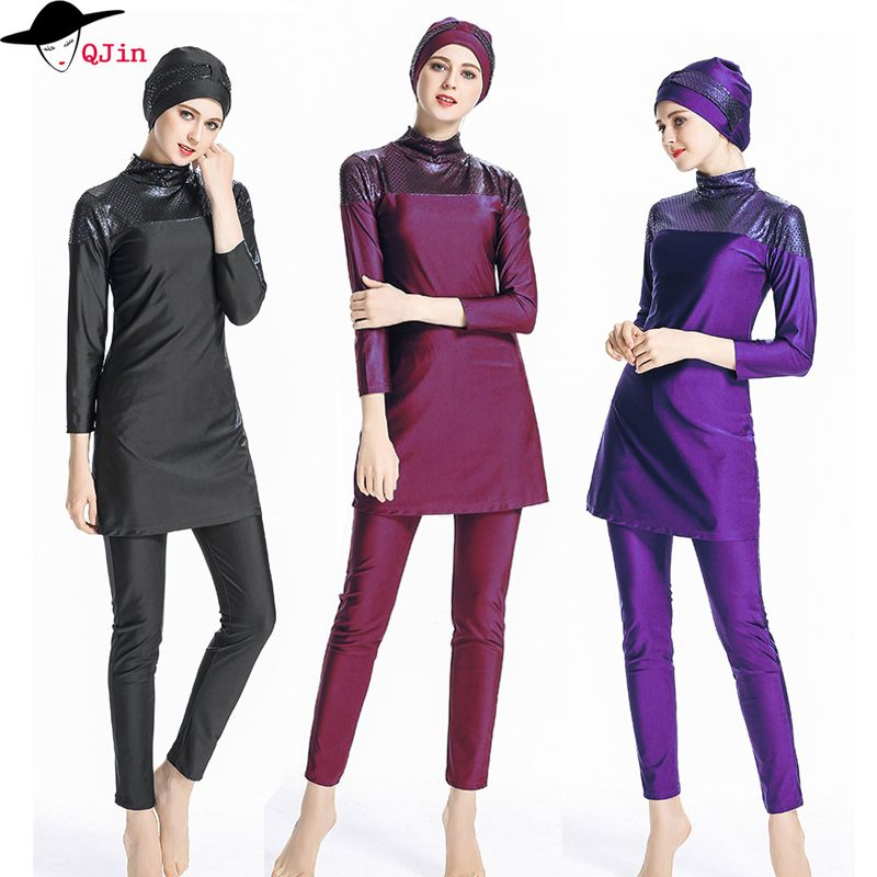 2018 plus size islamic swimsuit muslim swimwear For Women Full Coverage Hijab Swimming Beachwear burkinis girls muslim swimwear