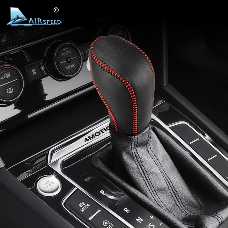 Airspeed Real Leather Car Gear Knob Cover Gearshift Cover for Volkswagen VW Golf Beetle Passat Polo Jetta 2011+ Auto car-styling