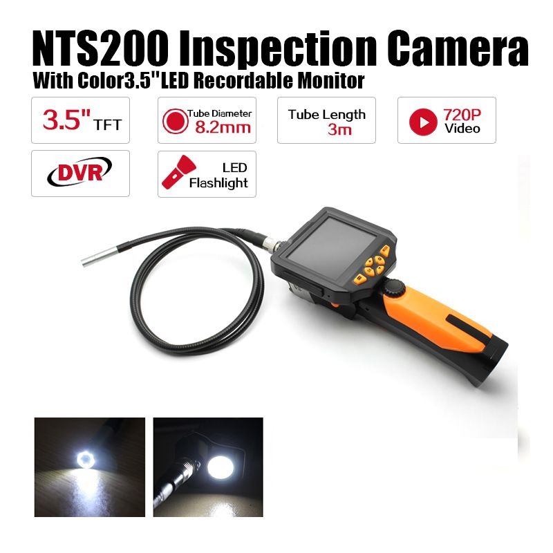 Eyoyo NTS200 Endoscope Inspection Camera 3.5 Inch LCD Monitor 8.2mm Diameter 3 Meters Tube DVR Borescope Zoom Rotate Flip