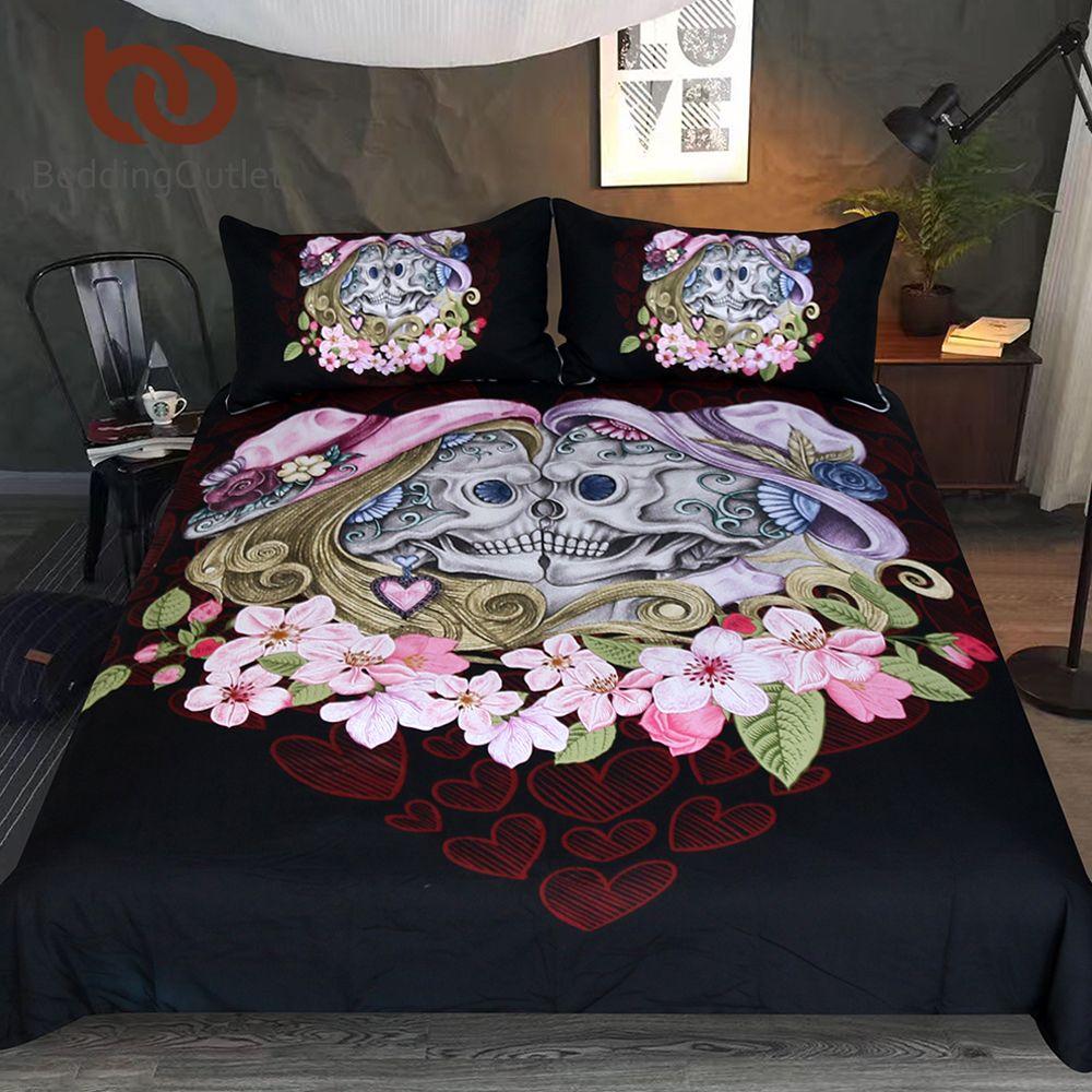 BeddingOutlet Skull Couples Bedding Set Queen Boy Girls Gothic Duvet Cover Black Bedclothes Pink Flowers Love Bed Set 3-Piece
