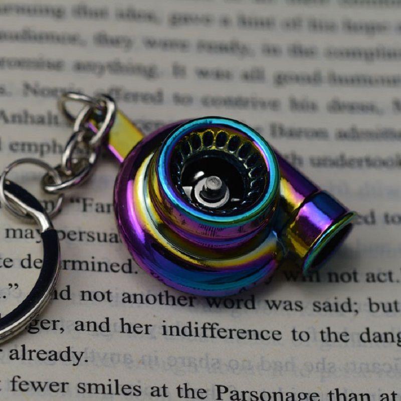 TOYIKIE Creative Spinning New Charming Rainbow Color Turbo Turbocharger Keychain Key Chain Ring Keyring Keyfob