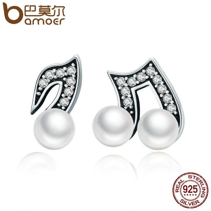 BAMOER 100% 925 Sterling Silber Hiphop Stil Melody Kleine Stud Ohrringe für Frauen Klar CZ Luxus Silber Schmuck Brincos SCE201