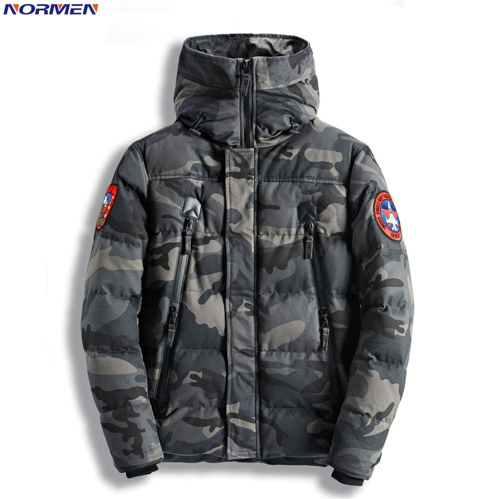 NORMEN Men's Fashion Camouflage Parkas Long Casual Winter Jacket Men Military Tactical Overcoat Padded Streetwear Drop Shipping
