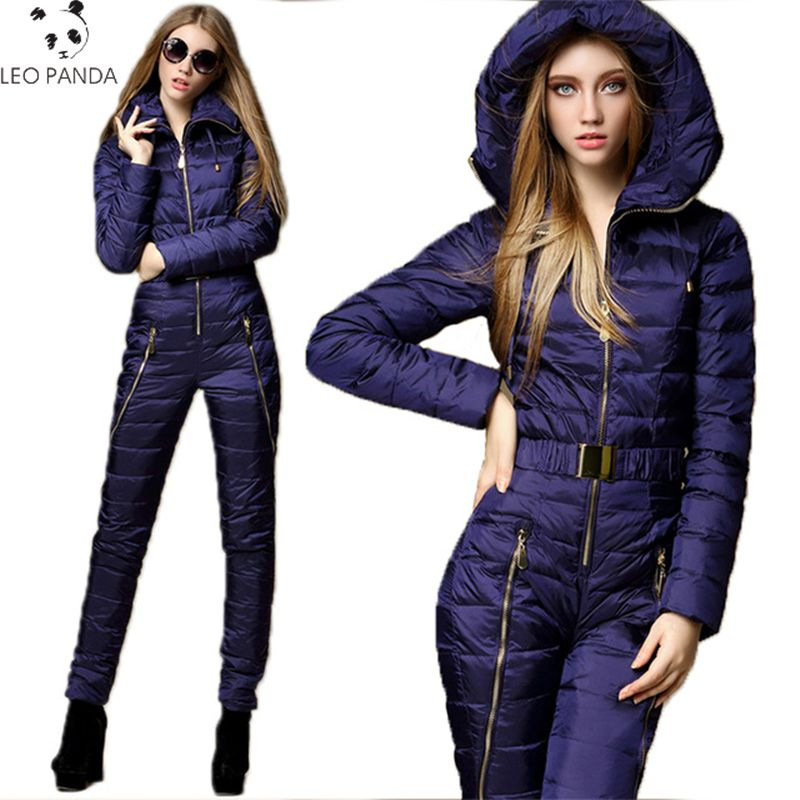 2018 Fashion Women Down Jacket Set Thickening Warm Winter One Piece Jumpsuit Breathable Suit Bodysuits Russia Female Suits LXT57