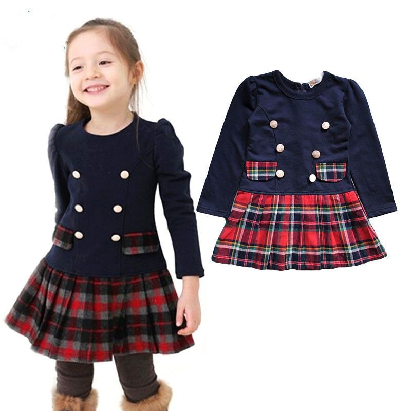 2018 3-7 ans automne hiver Double boutonnage robe pour filles enfants bébé Plaid pleine manches robe école robes pour enfants filles