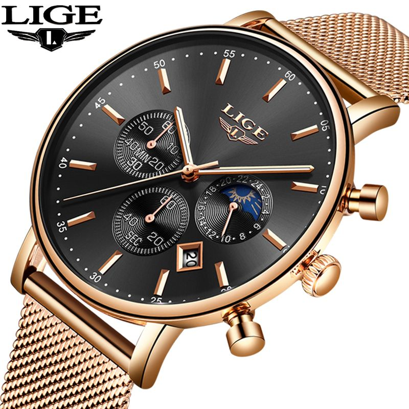 LIGE New Mens Watches Top Brand Luxury Fashion Ultra Thin Quartz Watch Men Moon Phase Business Clock Calendar Waterproof Watch