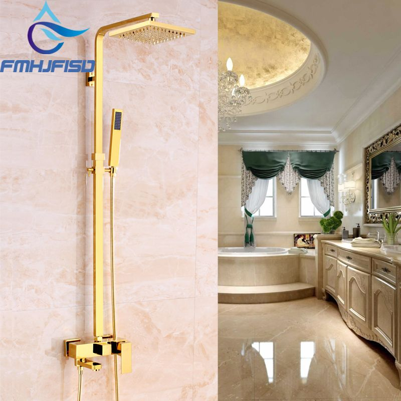 Luxury Gold Finish Bathroom Shower Mixer Faucet with 8